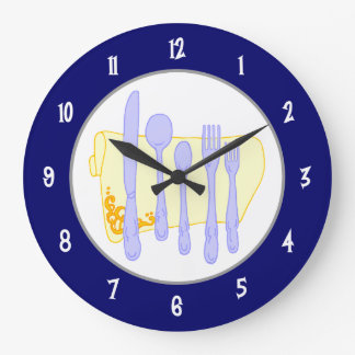 Silverware and Napkin on Blue Wall Clock