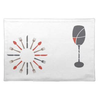 silverware and wine glass design cloth placemat