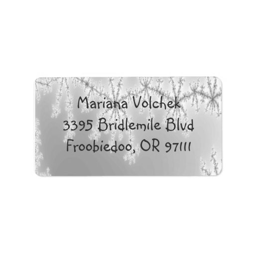 Silvery Abstract Snowflake Address Label