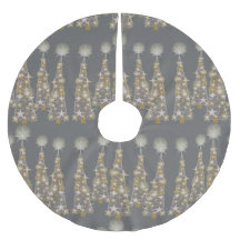 Silvery And Golden Christmas Trees Skirt Brushed Polyester Tree Skirt