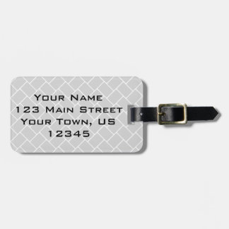 Silvery Basket Weave Luggage Tag