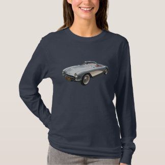 Silvery blue 1959 Corvette on  ladies' dark T T-Shirt