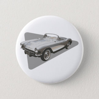 Silvery blue 1959 Corvette on silver foil Pinback Button