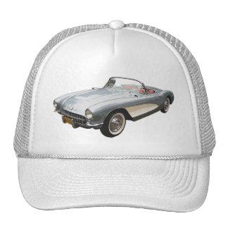 Silvery blue 1959 Corvette  on white cap. Trucker Hat