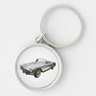 Silvery blue 1959 Corvette on white key chain. Silver-Colored Round Keychain