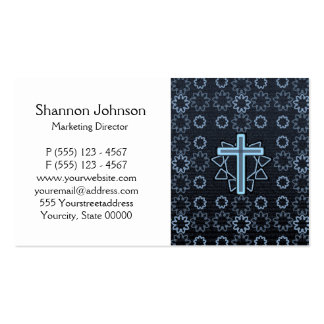 Silvery Blue Glowing Cross Business Cards