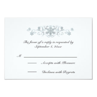 Silvery Blue Snowflakes Winter Wedding RSVP Card