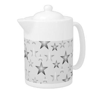 Silvery Gray Christmas Stars Pattern Teapot