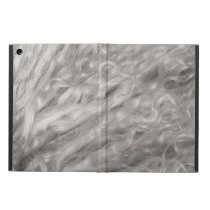 Silvery gray curly sheepskin fur texture case for iPad air