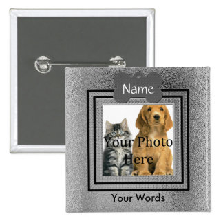 Silvery Gray Dog or Cat Pet Memorial Pinback Button