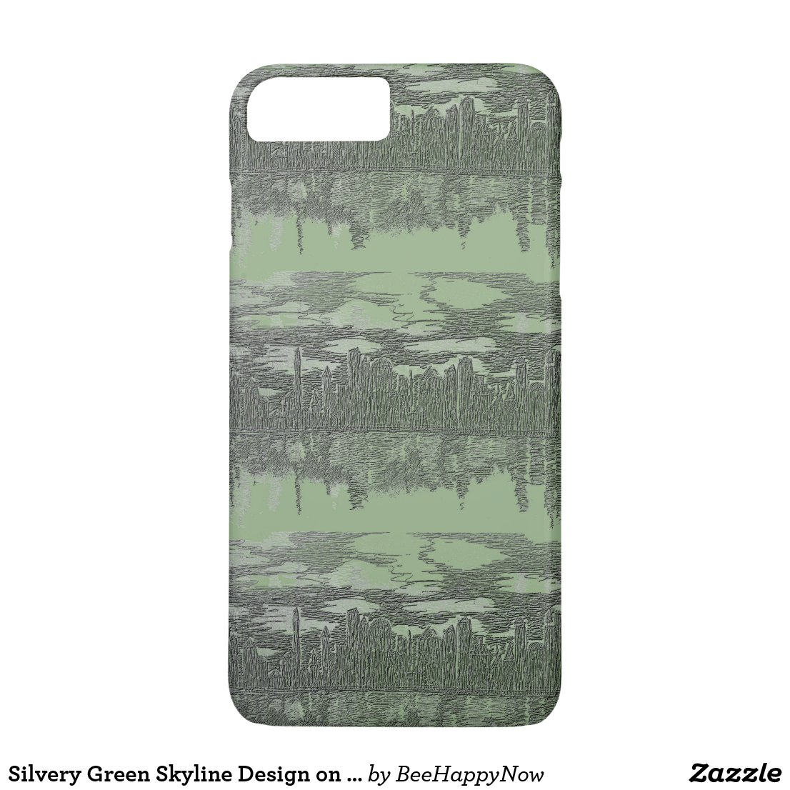 Silvery Green Skyline Design on iPhone 7 Case