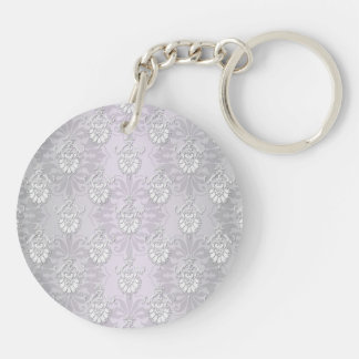 Silvery Grey and White Damask Double-Sided Round Acrylic Keychain