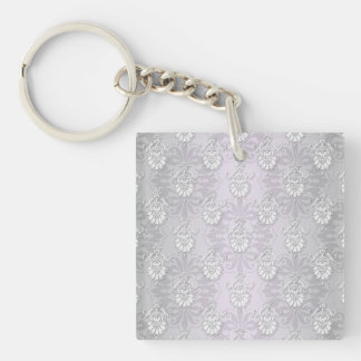 Silvery Grey and White Damask Double-Sided Square Acrylic Keychain