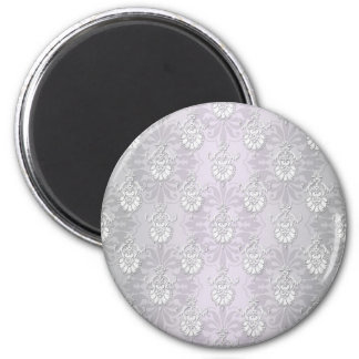 Silvery Grey and White Damask 2 Inch Round Magnet