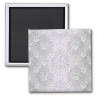 Silvery Grey and White Damask 2 Inch Square Magnet