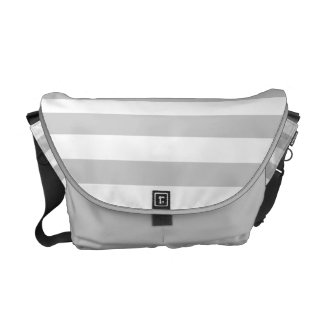 Silvery Grey and White Stripe Pattern Courier Bags