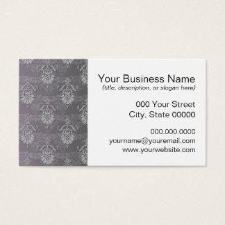 Silvery Grey Damask Pattern Business Card