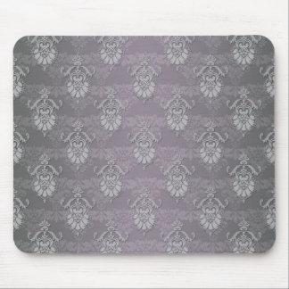 Silvery Grey Damask Pattern Mouse Pad