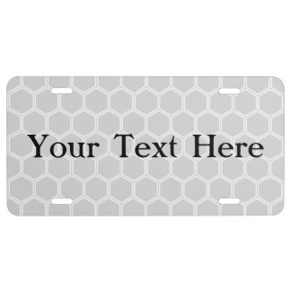 Silvery Hexagon 1 License Plate