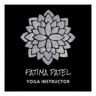 Silvery  Mandala Floral Modern  Yoga Instructor Poster