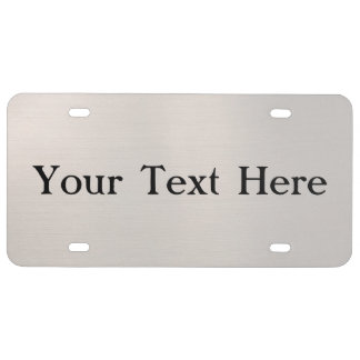 Silvery Metallic License Plate