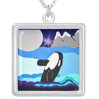 Silvery Moon Killer whale necklace