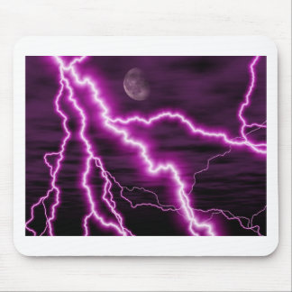 Silvery Moon With Jagged Purple Lightening Streaks Mouse Pad