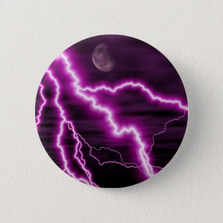 Silvery Moon With Jagged Purple Lightening Streaks Pinback Button