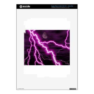 Silvery Moon With Jagged Purple Lightening Streaks Skins For iPad 3
