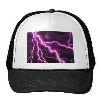 Silvery Moon With Jagged Purple Lightening Streaks Trucker Hat