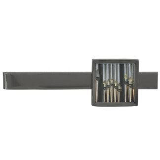 Silvery organ pipes gunmetal finish tie bar