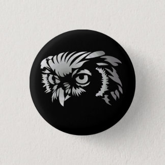 Silvery Owl Button
