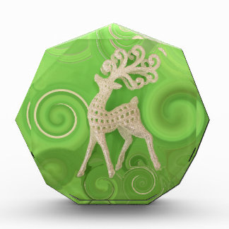 Silvery Reindeer with green swirls Acrylic Award