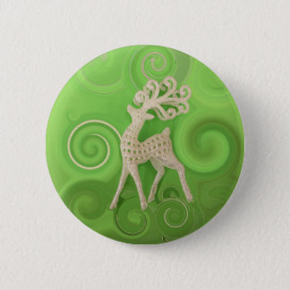 Silvery Reindeer with green swirls Pinback Button