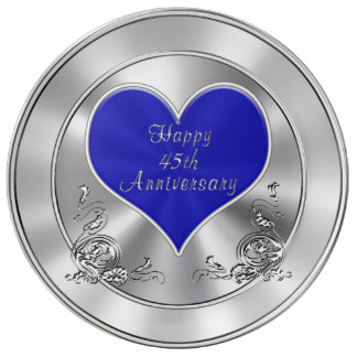 Silvery Sapphire look Happy 45th Anniversary Gifts Dinner Plate