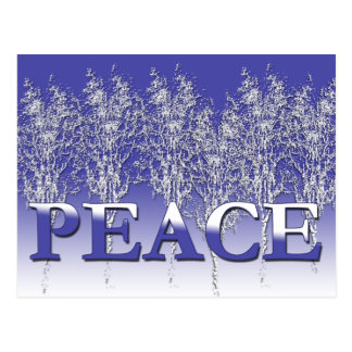 Silvery White and Blue PEACE Holiday Cards Postcards