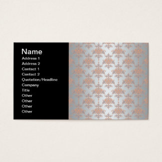 Silvery White Grey and Peachy Orange Damask Business Card