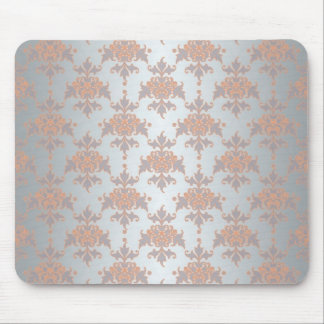 Silvery White Grey and Peachy Orange Damask Mouse Pad