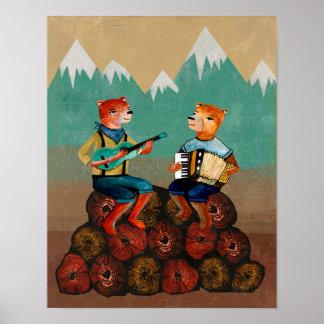 Silvicultores - dos osos que juegan música póster