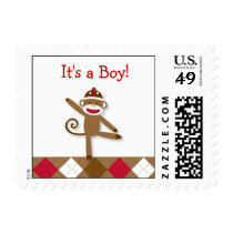 Sily Sock Monkey Baby Shower Postage Stamps