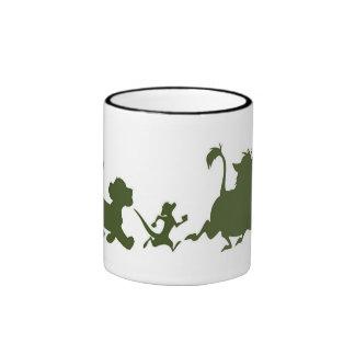 Simba del rey, Timon, y siluetas del león de Pumba Tazas De Café
