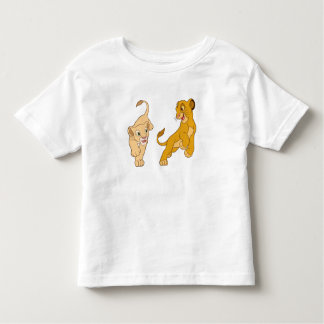 Simba y Nala del león de rey que juegan Disney Playera De Bebé