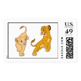 Simba y Nala del león de rey que juegan Disney Timbre Postal