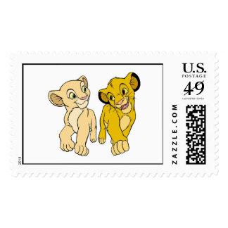 Simba y Nala Disney sonriente del león de rey Sellos