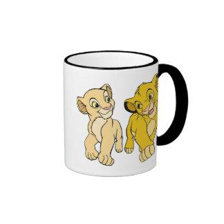 Simba y Nala Disney sonriente del león de rey Taza A Dos Colores