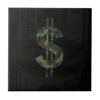 Símbolo $100 del dinero de Ben Franklin Camo Azulejo Cuadrado Pequeño