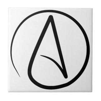 Símbolo #2 del ateísmo azulejo cuadrado pequeño