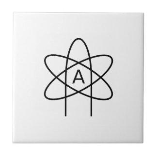 Símbolo #3 del ateísmo azulejo cuadrado pequeño