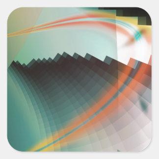 Símbolo abstracto fresco colorido pegatina cuadrada