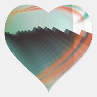 Símbolo abstracto fresco colorido pegatina en forma de corazón